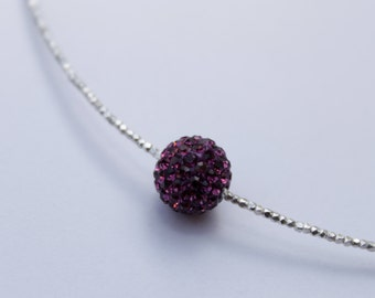 Choker with 925 silver pearl and purple Shambala.