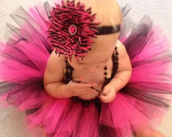 Hot Pink and Black  Tutu , Pink and Black Tutu, Newborn Tutu, Toddler Tutu, Infant Tutu