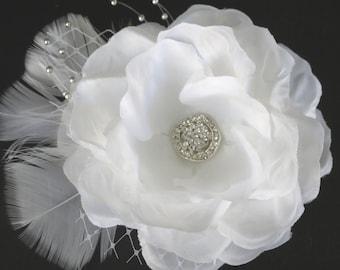 White Bridal  Flower Hair Clip  Wedding Hair Clip  Wedding Accessory Veil  Pearls Feathers