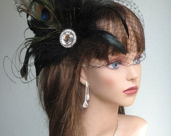 Black Bridal Feather Fascinator Kentucky Derby Head Piece Vail Wedding Accessory Feathers Crystals