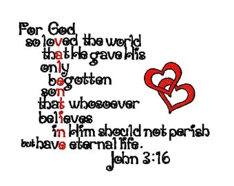 John 3:16 Valentine Verse Embroidery Design