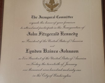 Invitation to the Inauguration of President John F. Kennedy and Vice President Lyndon B. Johnson on January 20, 1961