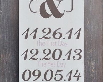 Monogram Sign, Bridal Shower Gift, Custom Wood Wedding Sign, Wedding Gift, Anniversary gift, Engagement Gift, Important Date Sign
