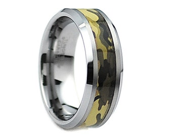 Tungsten Wedding Band,Tungsten Wedding Ring,Anniversary Ring,Engagement Band,Hunter Ring,Camo,Handmade,His,,8mm,Tungsten Camo,Camo Tungsten