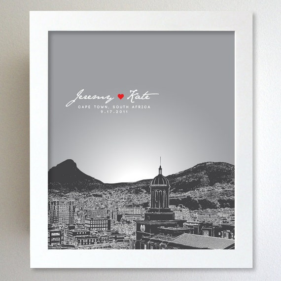 Personalised Wedding Gifts Cape Town : Personalized Anniversary Gift Cape Town South Africa Skyline 8x10 ...