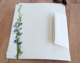 Purple Flower Stalk Eco Friendly Letter Paper, Letter Writing Set, Gift