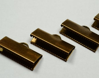 20 Pcs Antique Bronze 10x25 mm Ribbon Crimps End , Connectors