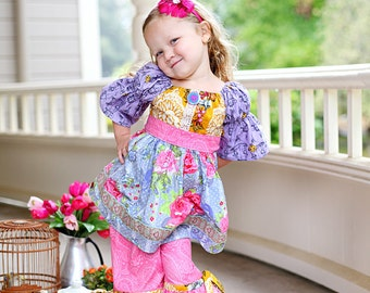 SALE... Buy 2 get 1 Free...PDF Sewing Pattern Easy Girl's Peasant Tunic Top or Dress with Sash and 3 sleeve lengths, Sizes 3-6M through 10