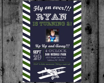 Vintage Airplane Birthday Printable Invitation