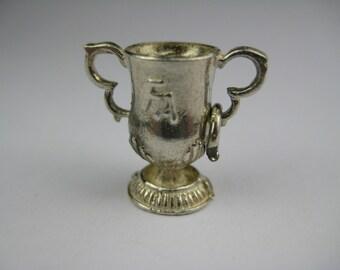 Vintage English Sterling Silver FA Trophy Football Sports Charm Bracelet Pendant Jewelry