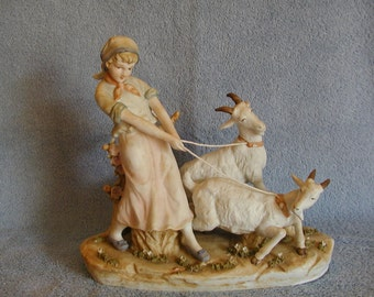 Heidi with Goats Porcelain Figurine - Girl with Goats