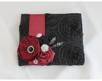 READY TO SHIP Wedding Lace Guest Book Custom Bridal Flower Brooch Guest Books in Black and Wine Burgundy Bordeux