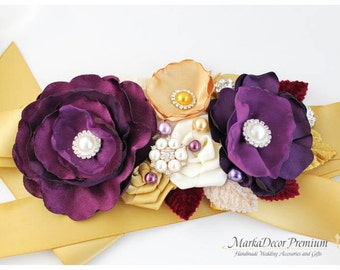 Bridal Sash / Custom Wedding Bridesmaids Belt in Eggplant Purple, Gold and Ivory with Brooches, Beads, Pearls, Crystals, Jewels
