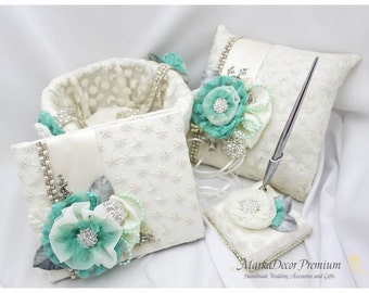 READY TO SHIP Set of 4 Wedding Bridal Lace Ring Pillow Guest Book Pen Set and Basket Set Custom Bridal Brooch Pillow Basket in Ivory Mint