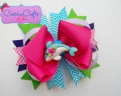 Tropical Dolphin Stacked Boutique Bow - Summer, Ocean, Beach, Layers, Pink, Green, Chevron, Blue, Purple, Aqua, Flower, Prop, Alligator Clip - CreativeCraftsByJen