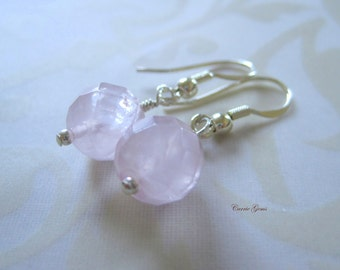 Rose Quartz Earrings, Sterling Silver Earrings, Gemstone Jewelry