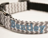 Personalized - Made to order - Dog collar with gray and white chevron print.