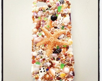 iPhone 5, 5S, & 5C shell encrusted case with Kauai shells