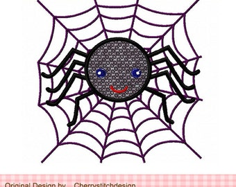 Spider and the spider web digital applique - 4x4 5x7 6x10 Machine Embroidery Applique Design
