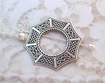 Silver Celtic Shawl Pin, Celtic Lapel Pin, silver shawl pin, stick pin, hat pin, octagon, fall fashion, wiccan, silver scarf pin