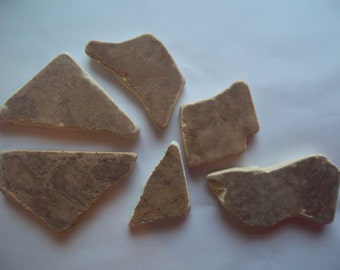Scottish Sea Glass beach finds 6 brown coloured mixed sea pottery shards b14