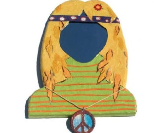 Hippy Chick Mirror with hand made peace sign necklace decorative wall mirror