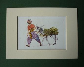 1960 Arabian Nights Print - One Thousand & One Nights - 1001 Nights - Vintage Print - Donkey - Mule - Aladdin - Middle East Persia - Persian