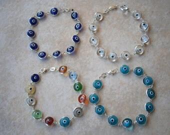 GREEK EVIL EYE Sterling Silver .925 round Glass 10mm Royal Blue clear multi color bead murano Bracelet Charm Nazar Mati beads Greece hamsa