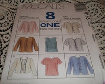 Blouse Sewing Pattern McCalls Pattern 8155 Top And Jacket In Two Lengths Sizes 12 And 14 Factory Folded Uncut