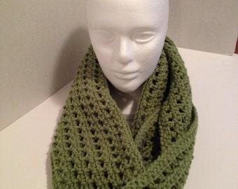 Crochet Infinity Scarf, Cowl, green