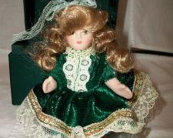 Vintage Miniature Porcelain Doll Blonde Hair Green Velvet
