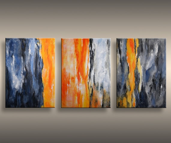 60 original textured abstract painting on canvas for Orange wall art