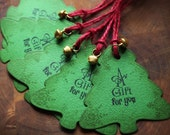 CHRISTMAS TREE rustic gift tags (set of 5) with snowflake pattern red twine and jingle bell