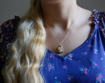 Victorian cameo necklace / key charm necklace