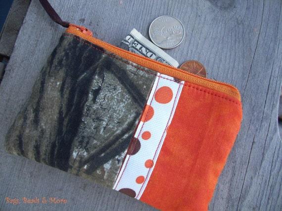 Orange Camo Coin Purse, Camo Zipper Wallet