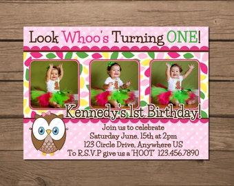 Look Whoo's Turning One Invitation OR Thank you card  Twin Option Triplets Who's Birthday Party Invitations Digital File