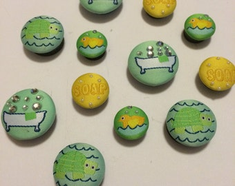Baby Bath Time Fabric Covered Decorative Magnets