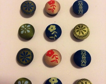 Vintage Inspired Fabric Covered Magnet Set