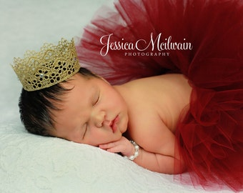 EXQUISITE tutu+crown set: Super fluffy Newborn tutu (half-filled) photo prop set with Vintage inspired crown collection