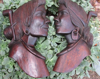 Carved Mid Century Modern Wood Sculpture Indian Women Silhouette
