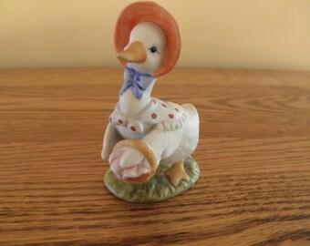 Lefton Goose Figurine with Market Basket