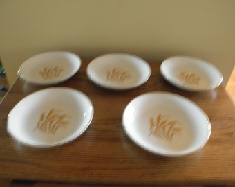 Golden Wheat Pattern Soup Bowls (Set of 5)