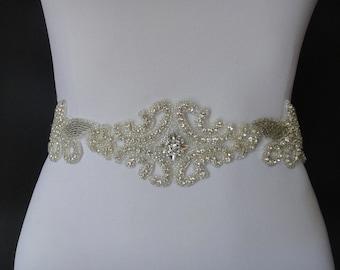 Bridal Belt, Bridal Sash, Swarovski Crystal Bridal Belts, Wedding Belt, Bridal Belts and Sashes, Wedding Sash, Beaded Bridal Belt, 1920s