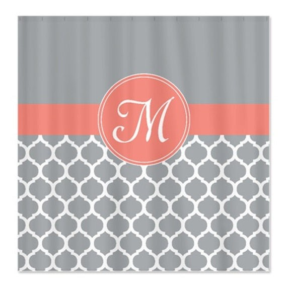 Monogrammed Shower Curtain Custom Quatrefoil Shower Curtain