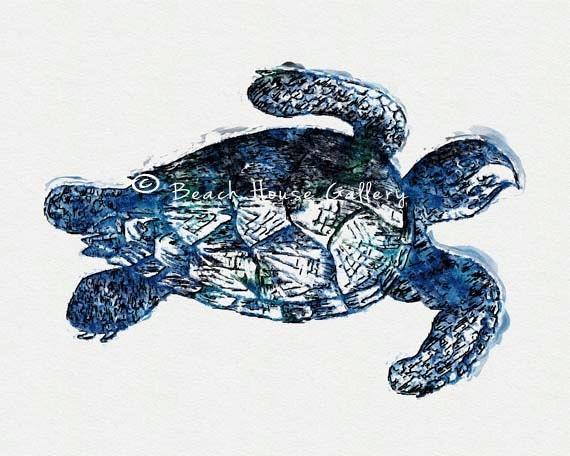 Turtle Bathroom Decor: Sea Turtle Watercolor Print Sea Turtle Print Sea Turtle