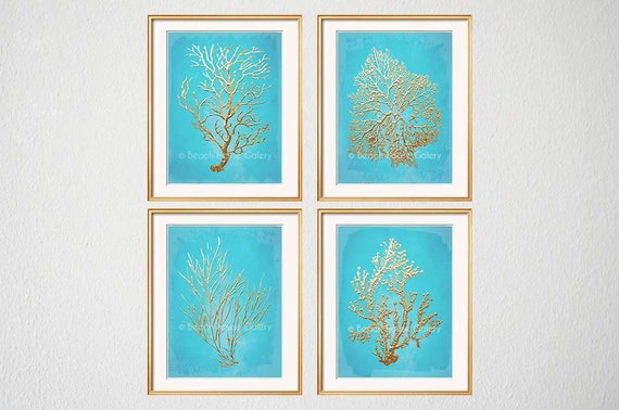 gold turquoise art turquoise sea coral turquoise gold wall. Black Bedroom Furniture Sets. Home Design Ideas