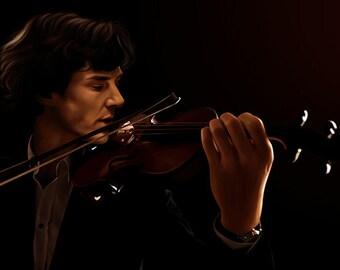 The Violin (Sherlock BBC) Canvas or Glossy Art Print