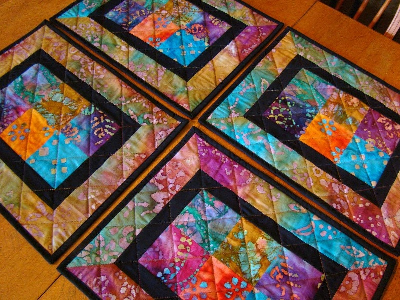 Modern Batik Patchwork Quilted Placemats set of 4 : ilfullxfull506412943ax1n from www.etsy.com size 800 x 600 jpeg 224kB