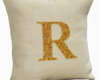 Personalized pillows, Monogrammed pillow cover, Personalized burlap pillows, Burlap pillow, Ivory gold pillow, Initial Pillow, Jute Cushion