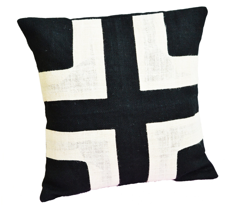 Burlap Pillow Black Burlap With Cream Applique Couch
